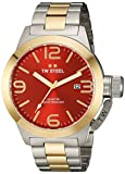 TW Steel Canteen Unisex Quartz Watch with Red Dial Analogue Display and Silver Stainless Steel Bracelet CB72