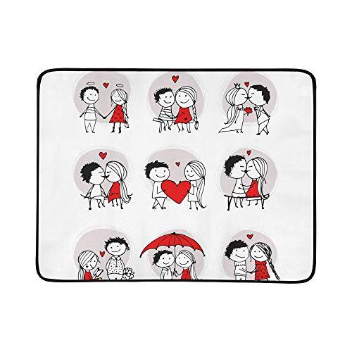 KAOROU Paare in der Liebe zusammen Valentinsgruß-Muster-tragbare und Faltbare Deckenmatte 60x78 Zoll-handliche Matte für kampierenden Picknick-Strand