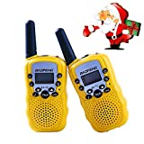 Lospu HY® BaoFeng Mini BF-T3 Walkie Talkie für Kinder UHF VOX 8CH mit LC-Display (1 paar)(Gelb)