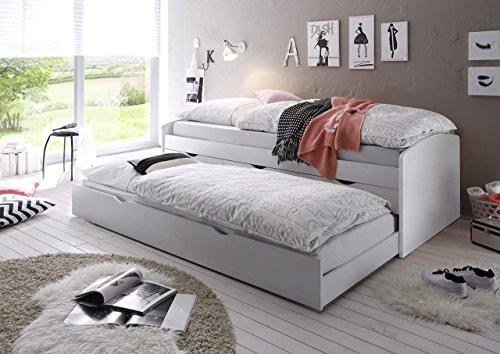 lifestyle4living Bett, Schlafbett, Kojenbett, Schlafzimmerbett, Gästebett, Funktionsbett, Jugendbett, Ausziehliege, ausziehbar, Schublade, 90x200, weiß