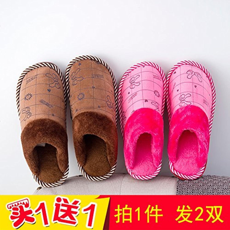 LaxBa - Zapatillas de invierno cálidas, zapatillas de peluche de invierno para el hogar, calientes zapatos de...