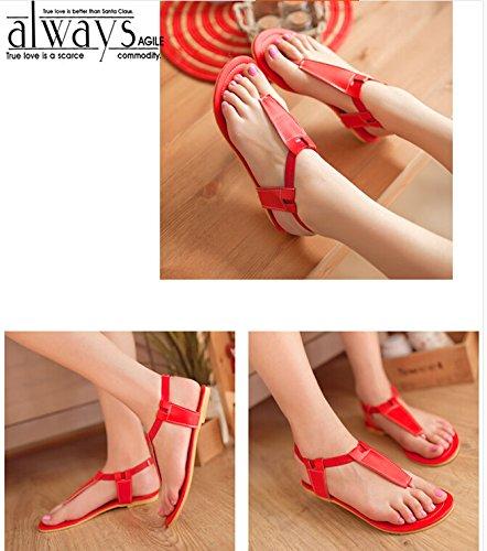 Damen Straps Nonbrand Blockabsatz Rot Ankle p6xTxFZq