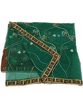 Mujeres Elegante Dupatta Ne Tfabric Boda Diseñador Mantón Verde Indio Vendimia Étnica Estola
