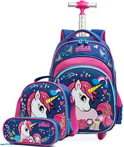 Zaino scuola bambino trolley unicorno, htgroce 3 set zaino trolley zainetto ragazza in nylon con ruote regolabile pull rod per scuola viaggio - blu