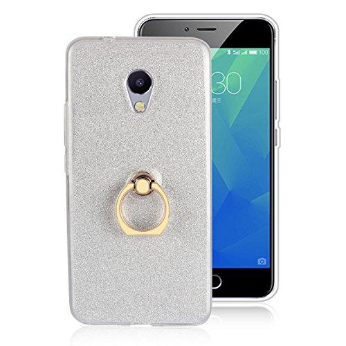 Custodia Per MEIZU M5S, Sunrive Trasparente Custodia Cover TPU con 360 gradi di rotazione dell'anello Cavalletto + Carta Ultra Sottile Glitter Sparkle Bling Bling(bianco)
