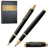 PARKER Schreibset IM Black Lacquer G.C. mit Gravur Tintenroller und Kugelschreiber mit Geschenk-Etui