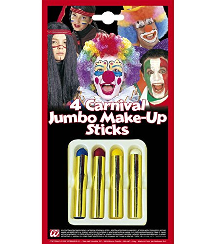 4 Jumbo Make-Up Sticks Clown Schminke Fasching Karneval -