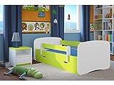 Kocot Kids Kinderbett Jugendbett 70x140 80x160 80x180 Grün mit Rausfallschutz Matratze Schublade und Lattenrost Kinderbetten für Mädchen und Junge - ohne Motiv 180 cm