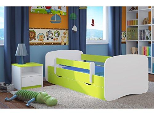 Kocot Kids Kinderbett Jugendbett 70x140 80x160 80x180 Grün mit Rausfallschutz Matratze Schublade und Lattenrost Kinderbetten für Mädchen und Junge - ohne Motiv 140 cm