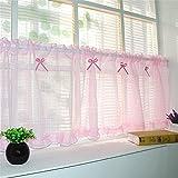 CF® Ländlichen Baumwollvorhang hohlen Stickerei Bogen schönen Kaffee Vorhang kurzen Küche Vorhänge für Wohnzimmer Schlafzimmer Vorhänge anpassen , tile width 140 cm, 35 cm high , pink
