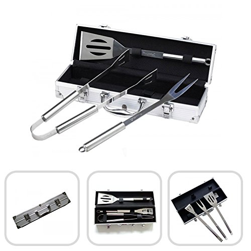 Ustensiles pour Barbecue dans leur mallette aluminium - Coffret avec spatule, Fourchette...