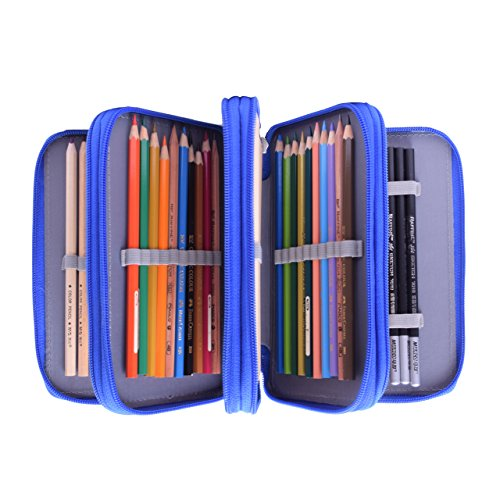 Newcomdigi Estuche Bolso Caja de Lapices Colores 72 Ranuras Portálapices Organizador de Alta Capacidad para Lapices de Colorear Dibujo Acuarela Arte Oficina y Maquillaje Coméstico Azul