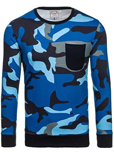 BOLF Herren Sweatshirt Langarmshirt Pullover Pulli Rundhals ATHLETIC 0741 Blau