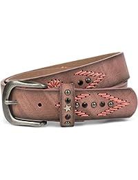 styleBREAKER ceinture brodée avec rivets, étoiles et strass, ceinture  vintage, raccourcissable, unisexe 1bf7c30467a