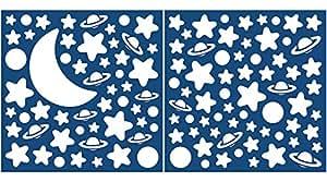 Crearreda 79223 Moderne Sticker Etoile/Planète/Lune Repositionnable Taille M Vinyle Blanc 31 x 31 x 0,05 cm