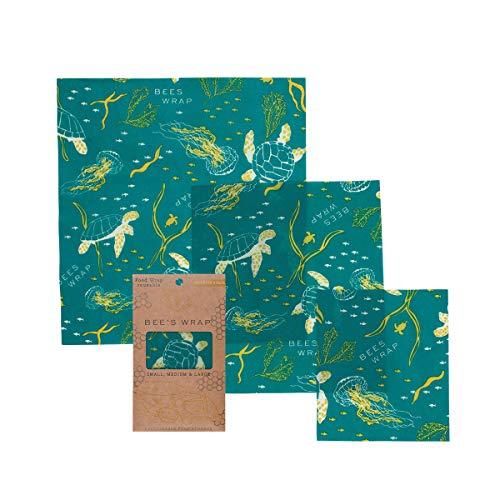 Bee's Wrap Wachspapier, Set mit 3 Stück, Verschiedene Größen, beige, Bienenwachs, 33.02 x 35.56 x 0.3 cm
