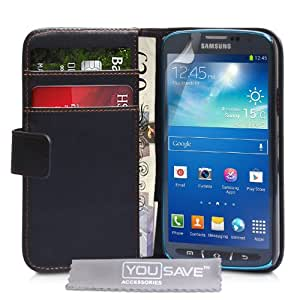 Yousave Accessories PU Leather Wallet Active Cover Case for Samsung Galaxy S4 - Black