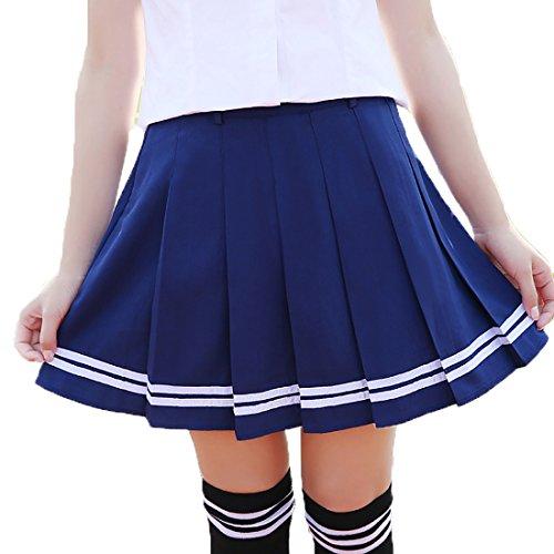 ock Schulmädchen Kostüm knielang Damen Kostüm Kostüm Sexy Halloween Kostüme Fancy Dress Outfit - blau mit weiß (Was Ein-und Zwei-halloween-kostüme)
