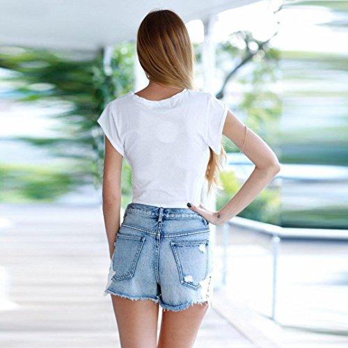 VENMO Damen O-Ausschnitt Kurzarm T-Shirt Beiläufig Crop-Top White