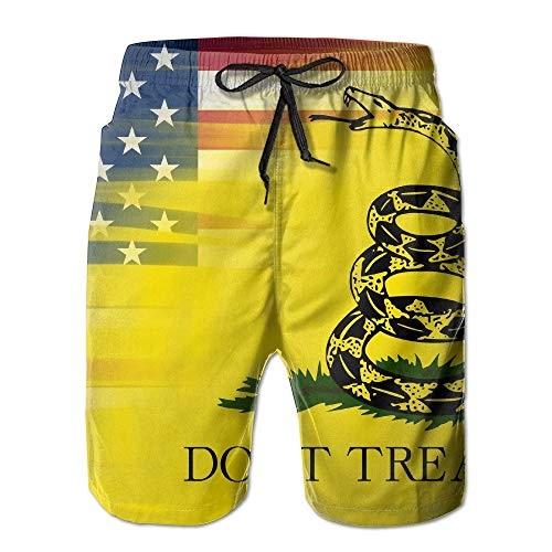 Fashion Men's Beach Pants American Flag Gadsden Flag Men's Water Sports Beach Shorts,M -