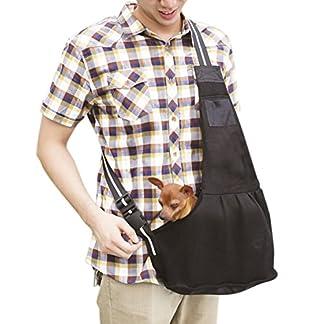 Breathable Small Dog Hand-free Shoulder Mesh Carrier with Leash Hook, Washable, T Tocas (Large, Black) 51V2qpf4ZeL