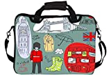 Snoogg London Doodles Polyester Canvas Green and Red Laptop Sleeves with Shoulder Strap