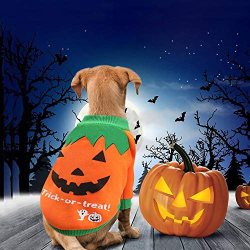 Idepet - costume/cappottino/maglione in pile per cani, gatti, cuccioli, chihuahua e altri animali domestici a forma di zucca per feste, halloween, natale, pasqua, attività divertenti