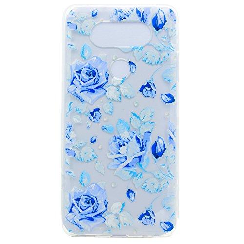 LG G6 Hülle,LG G6 Case,LG G6 Silikon Hülle [Kratzfeste, Scratch-Resistant], Cozy Hut TPU Etui Protective Case Ultra Dünn Schutzhülle Hübsches Bild Weiche Flexible Silikon-Gummi Tasche Anti-Kratzer Schützende Abdeckung Cover in 3D Farbe Blume für LG G6 - Fantasie Blue Rose