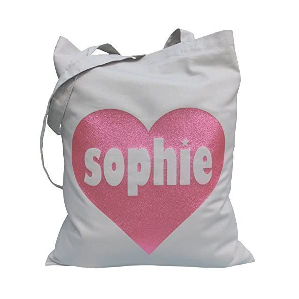 Tote Bag - Custom Tote Bag - Personalised Tote Bag - Birthday Tote Bag - Teen Tote - Tote for Women - Gift for Girls - Pink Glitter Heart - handmade-bags