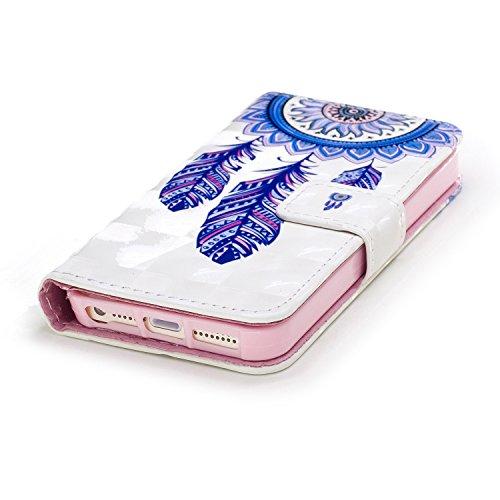 Coque pour iPhone 8 Plus (5.5 Pouces),Portefeuille Housse Etui pour iPhone 7 Plus (5.5 Pouces),Leeook 3D Effet Créatif Violet Papillon Modèle Bookstyle Wallet Case Cover de Protection à Rabat Magnétiq Bleu Dream Catcher