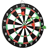 Skyfun Double Sided Portable Dart Board Game Round Metal Wiring Steel Tip with 4 Metal Darts for Adults, Kids-15 inch Size