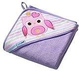 Baby Badehandtuch mit Kapuze FROTTEE / Kinder Kapuzenhandtuch 100x100cm 7316 (Lila / Eule)