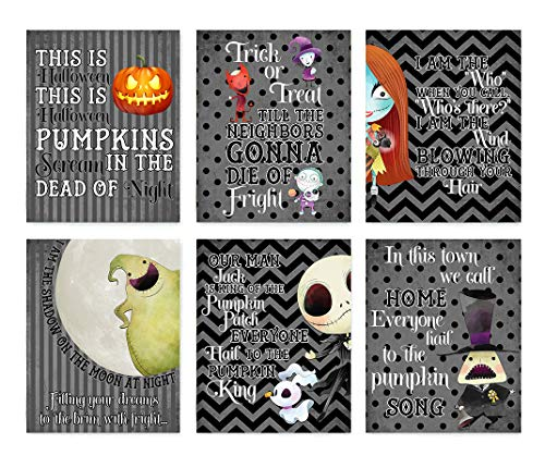 Silly Goose Gifts Nightmare Before Christmas Wanddekoration, Halloween-Long-Druck, 6 Stück