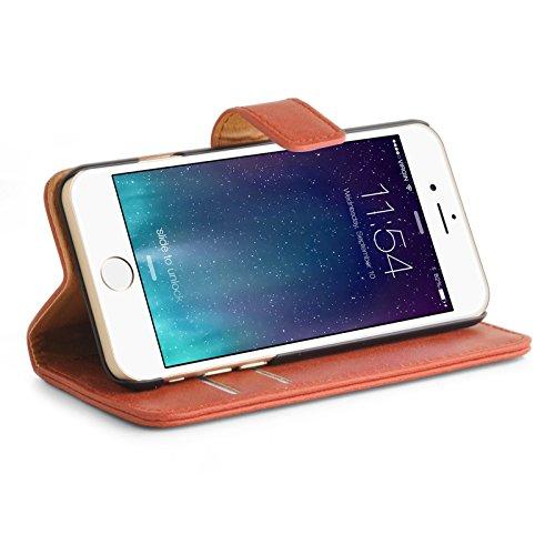 iPhone SE, iPhone 5/5s Lederhülle | JAMMYLIZARD Ledertasche [ Retro Series ] Leder Hülle Flip Case Cover Schutzhülle mit Kartenfach, Grau ORANGE