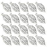 FENICAL 50 pezzi pendenti in lega pendenti in argento antico placcato con foglie vuote incanta i gioielli che fanno accessori per orecchini collana artigianale