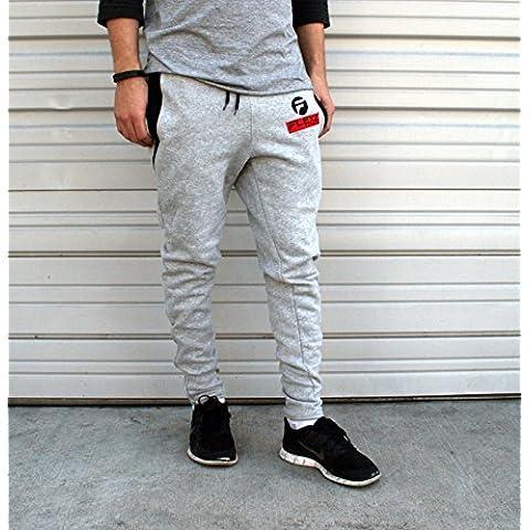Pantaloni tuta con pantaloni sportivi, per palestra e body building Pantaloni con gamba larga Grigio grigio L