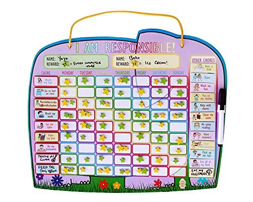 Preisvergleich Produktbild Yoyoboko Belohnungstafel für Hausarbeiten (Englisch),  mit magnetischer Rückseite und Aufbewahrungstasche,  abwischbar,  14, 4 x 34 cm