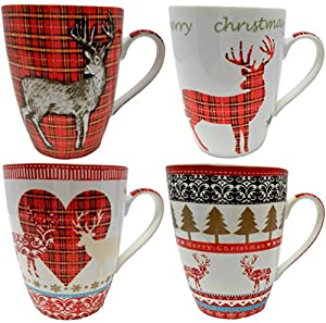 Set of 4 Fine China Christmas Reindeer Mugs Different Designs