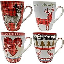 Tazas de Navidad Conjunto de 4 tazas. Diseño de renos.