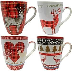 Ensemble de 4 Tasses de Noël de Porcelaine Fine, Conception de Renne