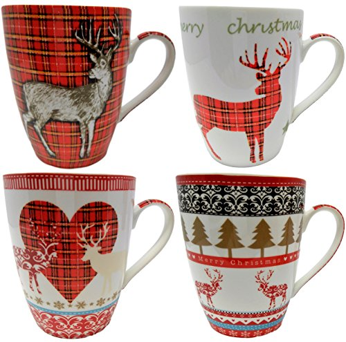 Ensemble de 4 Tasses de Noël de Porcelaine Fine, Conception de Renne
