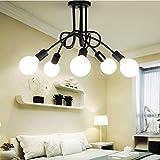 Negro 5cabezales ajustable retro industriales plafón lámpara pantalla, E27Lámpara colgante para bar restaurante habitaciones Loft Cocina Decoración