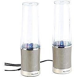 auvisio Lautsprecher mit Wasser: Design Wasserspiel-Lautsprecher, Lichteffekte, Metallgrill, 20 Watt (Wasserlautsprecher)