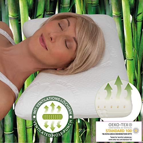daydream 50x35x10 Kopfkissen mit Wellenform + Lüftungskanälen (P-21200) aus Memory Foam + Bambus-Bezug | Kissen | Kopfkissen | Nackenstützkissen | Schlafkissen | Bettkissen | Nackenkissen | Testsieger