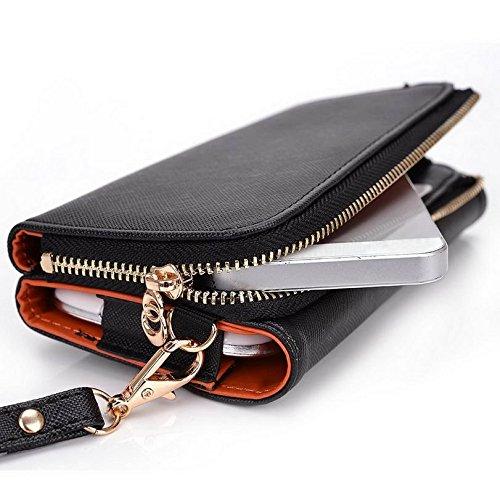 Kroo d'embrayage portefeuille avec dragonne et sangle bandoulière pour ZTE Zinger Smartphone Multicolore - Green and Pink Multicolore - Black and Orange