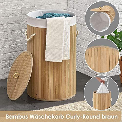 Juskys Bambus Wäschekorb Curly-Round mit Deckel & Stoff Wäschesack - 55 Liter Volumen - Wäschesammler mit 1 Fach - 60 cm hoch - rund - Natur