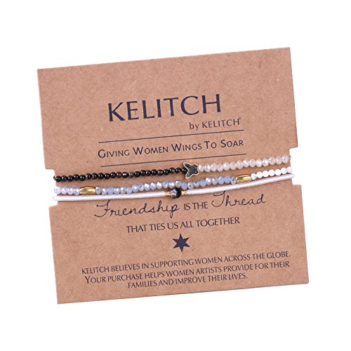 *KELITCH Armband 3 Stück Achat Seed Perlen Glas Kristall Schmetterling Freundschaftsarmbänder – B*
