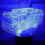 Auto a led per vigili del fuoco a luce notturna 3D con 7 colori di luce per la decorazione domestica Lampada Visualizzazione incredibile Illusione ottica Fantastica
