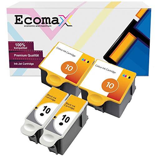 Ecomax 4 XL Druckerpatronen kompatibel zu Kodak 10 (10B + 10C) für Kodak ESP 3 ESP 5 ESP 7 ESP 9, Easyshare 5300 5500 ESP 3250 5250 7250 9250, Hero 7.1 Hero 9.1 Hero Office 6.1 Easyshare 7