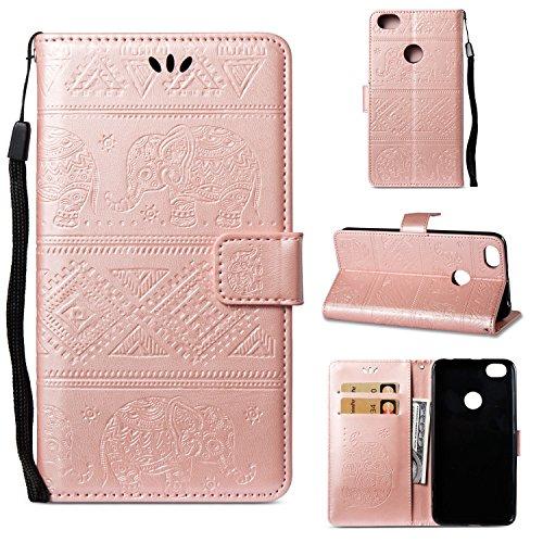 Caselover Funda Xiaomi Redmi Note 5A, Piel Libro Cuero Elefante Impresión Carcasa para Redmi Note 5A TPU Silicona Case Cover Interna Suave Flip Folio Tapa y Cartera Magnético Leather Case - Oro Rosa